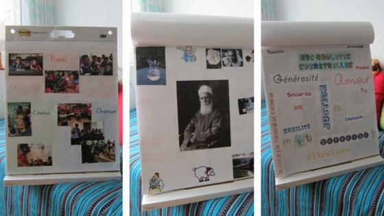 Photos illustrant l'utilisation du flipchart dans la classe d'enfant