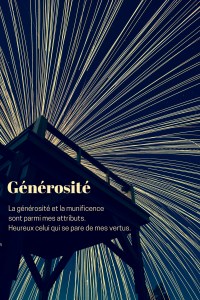 """Citation de la leçon 5: """"La générosité et la munificence sont parmi mes attributs. Heureux celui qui se pare de mes vertus."""""""