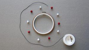 Tout le matériel nécessaire pour faire un tambourin: un cadre à broderie, des grelots et un cordon en coton